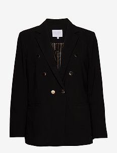 Suit jacket w. double breasted clos - BLACK