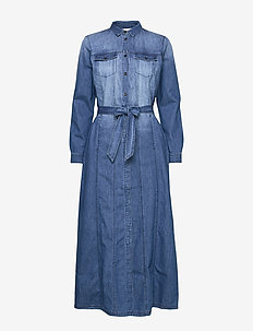 Dress in denim w. long sleeves - MEDIUM BLUE