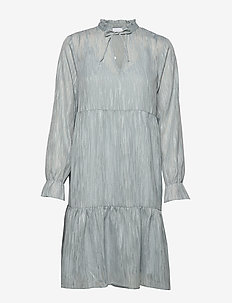 Dress long sleeved w. frill at neck - SHADOW BLUE