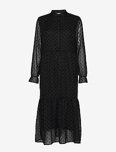 Dress w. gatherings at skirt part - BLACK
