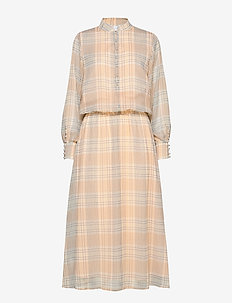 Dress long sleeved in check print - CHECK PRINT