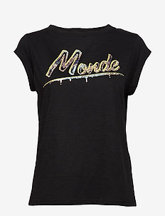 T-shirts with monde print - BLACK