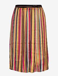 Skirt in plissé and multi color pri - MULTI STRIPE PRINT