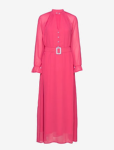 Dress w. buckle closure at waist - CLEAR PINK