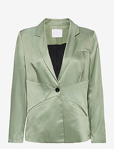 Suit jacket w. closure at waist - casual blazere - crystal green