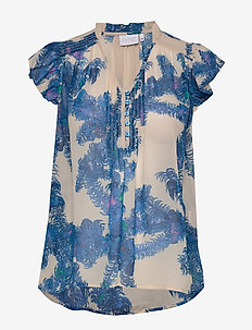 Top w. smock and frill details - short-sleeved blouses - feather bloom blue