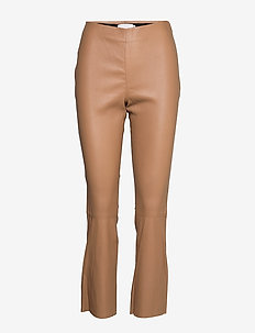 Leather pants - cropped - CARAMEL