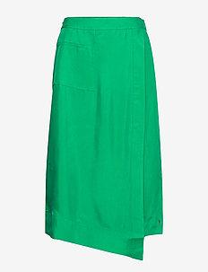 Skirt w. elastic band at back - midi skirts - emerald green