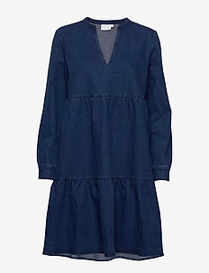 Dress longsleeves w. v-neck - MEDIUM BLUE