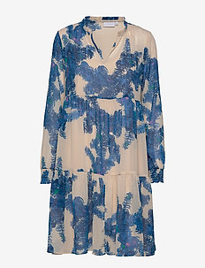 Dress w. frill detail at neck - FEATHER BLOOM BLUE