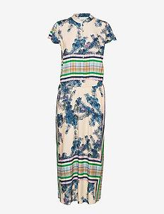 Long dress w. buttons - maxiklänningar - scarf print