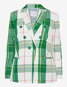 Suit jacket w. double breasted clos - oversize-bleiserit - picnic check