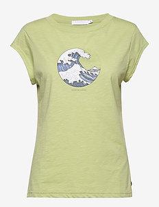 Tee w. wave print - t-skjorter med trykk - light pistache