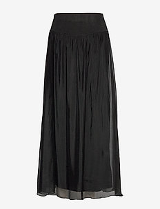 Long skirt w. jersey waistband - maxikjolar - black