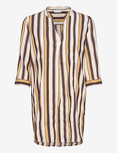 Blouse w. v-neck - tunikaer - desert stripe