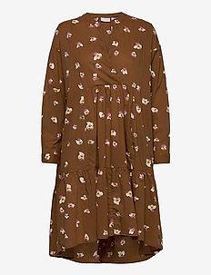 Dress w. long sleeves and pocket - midi kjoler - orchid print brown