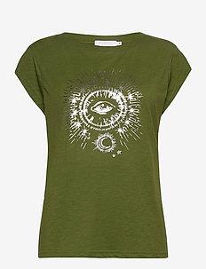 T-shirt w. tarot print - t-shirts med tryk - forest green