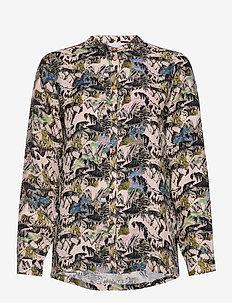 Shirt in cupro w. flower field prin - langærmede bluser - flower field print