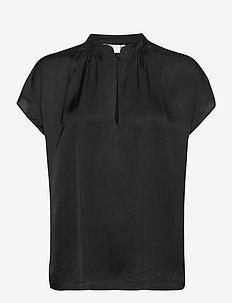 Top w. stand collar and gathering - langærmede bluser - black