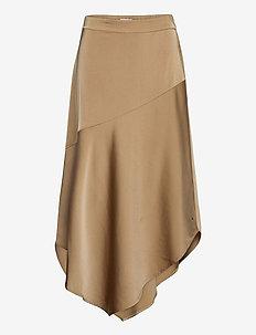 Skirt w. bias cut in sateen quality - midinederdele - pale khaki