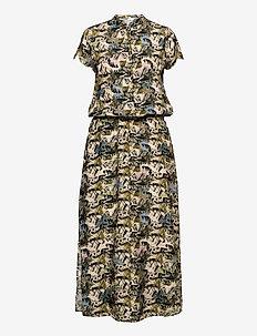 Dress in cupro w. flower field prin - maxikjoler - flower field print