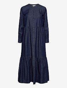 Dress in soft denim w. long sleeve - jeansowe sukienki - medium indigo