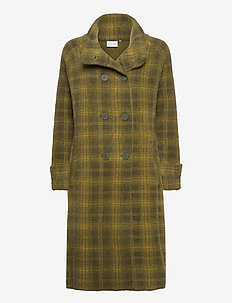 Knitted coat - uldfrakker - night green