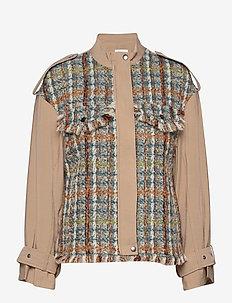 Jacket in mix canvas and boucle - uldjakker - beige