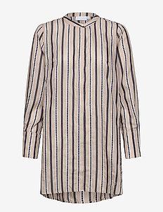Long shirt w. high cuffs - tunikor - sand mix