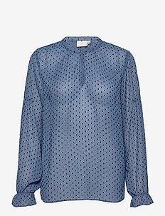 Blouse w. elastic at sleeve - langærmede bluser - misty blue