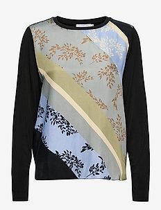 Top in cupro w. jersey back - långärmade blusar - diagonal flower print