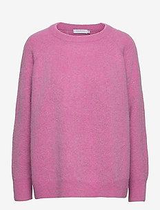 Knit w. houndstooth pattern - tröjor - bubble gum