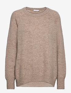 Knit w. houndstooth pattern - trøjer - camel