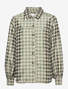 Jacket in houndstooth jacquard - overshirts - houndstooth green