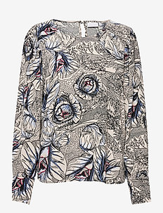 Blouse in Garden print - EcoVero Le - långärmade blusar - garden print