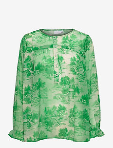 Blouse in Wallpaper print w. string - langærmede bluser - wallpaper print