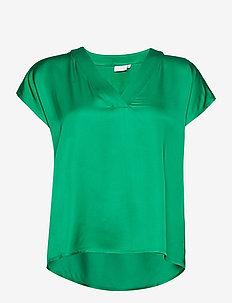 Top w. v-neck - blouses met korte mouwen - emerald green