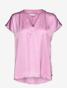 Top w. v-neck - blouses met korte mouwen - orchid pink