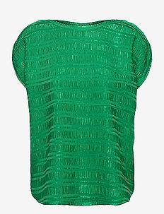 Top w. gathering in stripe jacquard - strikkede toppe - emerald green