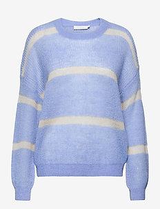 Sweater in alpaca with stripe detai - tröjor - airy blue stripes