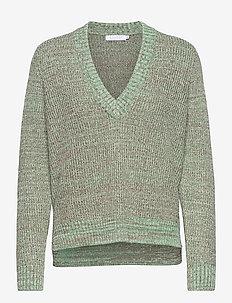 V-neck sweater in green mix - Seawo - truien - garden greens