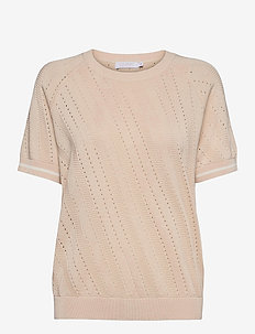 Knit w. short sleeves and pointelle - gebreide t-shirts - cream
