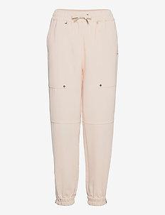 Pants with elastic cuffs - sweatpants - cream