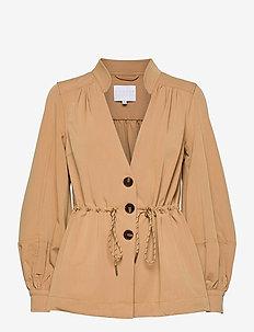 Jacket w. volume sleeves and tie-st - utility jassen - golden beige