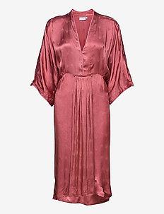 Dress with v-neck - cocktail dresses - tanned brick