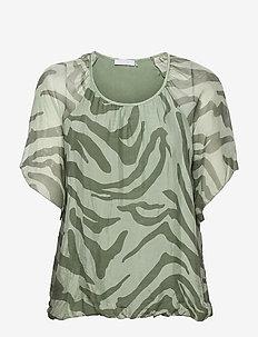 Silk top with short sleeves - short-sleeved blouses - safari print