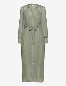 Metallic chiffon dress - summer dresses - dust green