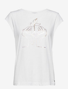 T-shirt with foil hands print - t-shirts - white