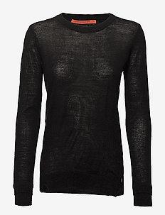 Round neck knit top merino (Basic) - trøjer - black