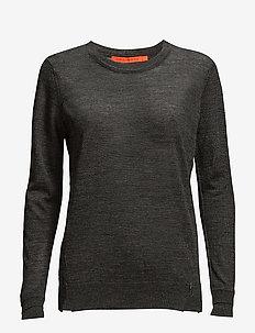 Round neck knit top merino (Basic) - trøjer - dark grey melange